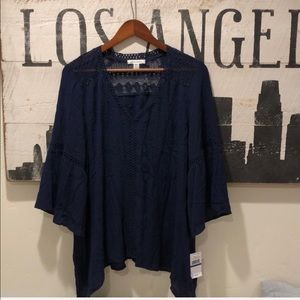 JohnPaulRichard Solstice Lace Top in Navy Blue XL